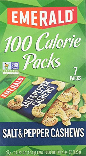 Emerald Nuts, Salt and Pepper Cashews 100 Calorie Packs, 7 Count Box 100 Calorie Snack Pack