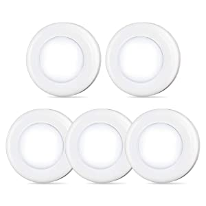 Tap Light, Push Light, STAR-SPANGLED 4 LED Mini Touch Light, Small Puck Lights Battery Powered, Stick-on Anywhere with Strong Adhesive for Closet, Cabinet, Stair, Bedroom, Kitchen (Cool White, 5 Pack)