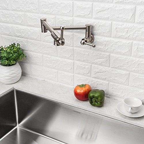 LORDEAR Stainless Steel Pot Filler Folding Stretchable Double Joint Swing Arm Brushed Nickel Wall Mount Kitchen Faucet, Single Hole Two Handle Kitchen Sink Faucet by Lordear (Image #2)