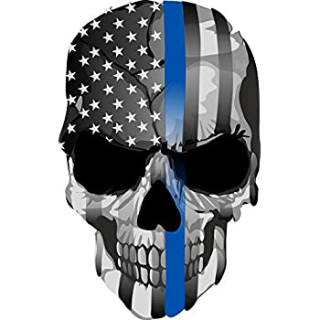 Skull with American Flag Bandana Vinyl Car Window Decal Bumper Sticker US Seller