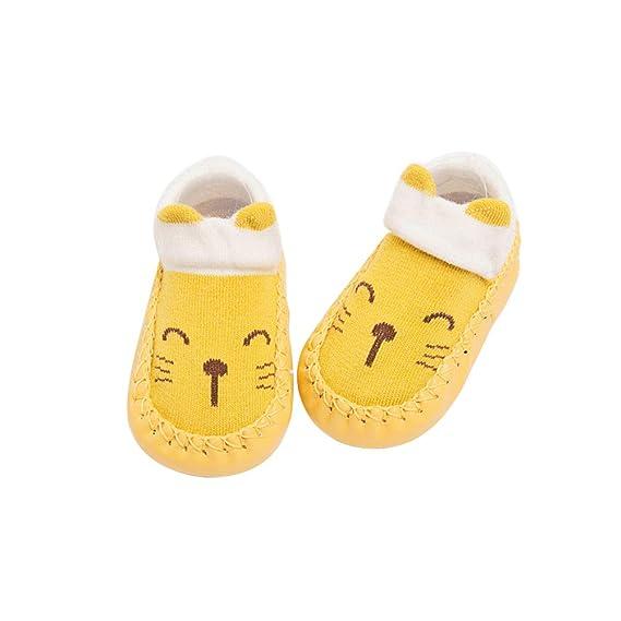 BESTOYARD Bebé calcetines algodón invierno calcetines animal antideslizantes para niños niña 11cm (Gato amarillo)