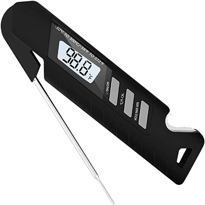 Digital Instant Read Meat Thermometer, Waterproof Ultra Fast Thermometer Kitchen Cooking Food Candy Thermometer with Calibration Backlight for BBQ Grill Oil Deep Fry Milk Yogurt Temperature (Black)