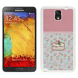 NEW Unique Custom Designed Samsung Galaxy Note 3 N900A N900V N900P N900T Phone Case With Vintage Flowers Pattern Sign_White Phone Case