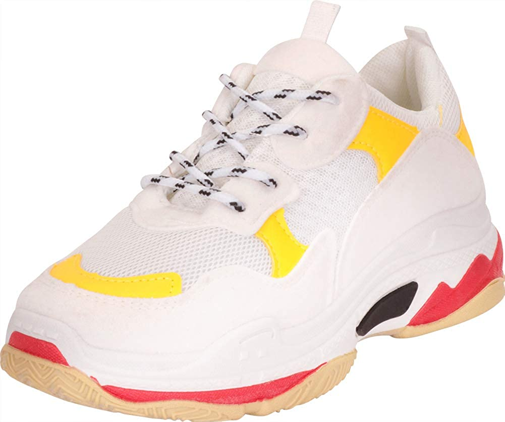 Yellow White Cambridge Select Women's Retro 90s Ugly Dad Lace-Up Chunky Platform Fashion Sneaker