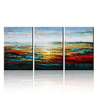 Asmork Modern Art Oil Paintings - Canvas Wall Art - Southwest Art Landscape Oil Painting On Canvas - Modern Wall Art - Home Decor Ready To Hang Hand-Painted Abstract Artwork - Best Buy Gift- Set of 3