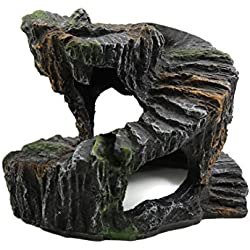 uxcell Resin Turtle Revolve Climb Stone Cave Shelter Hiding Spot Ornament for Aquarium