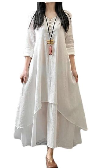 b5c39d46208 XQS Women s Fake Two Piece Linen Cotton Dress Spring Summer Plus Size  Dresses at Amazon Women s Clothing store