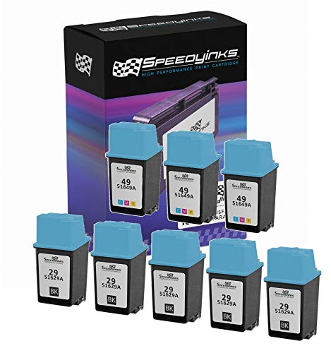 Speedy Inks - 8PK Remanufactured Replacement for HP 29 HP 49 51629A 51649A 5 Black & 3 Tri-Color Ink Cartridge Set