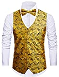 Cyparissus 3pc Paisley Vest Men Neck Tie Bow Tie Set Suit Tuxedo