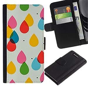 KingStore / Leather Etui en cuir / Sony Xperia Z1 Compact D5503 / Gotas de agua para niños Colores en colores pastel del lunar