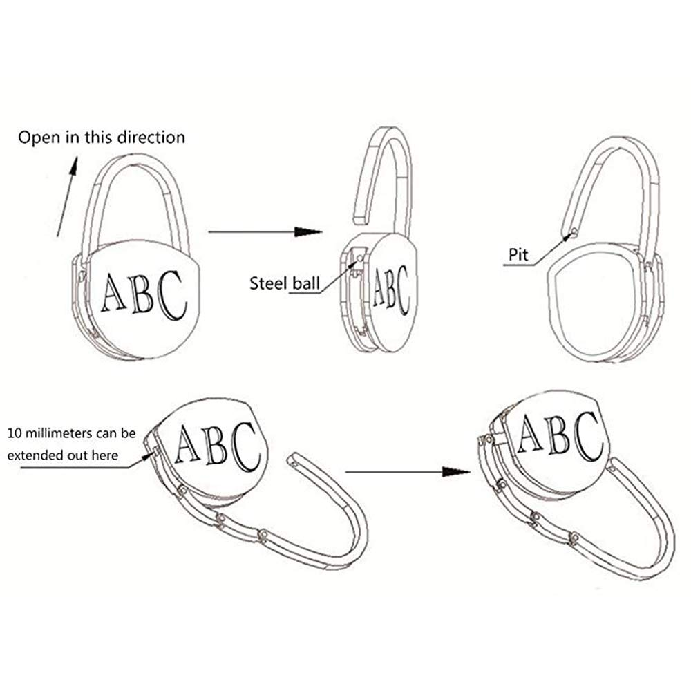 Bycws Owl Style Premium Foldable Handbag Bag Purse Hanger Table Hook Holder 4PCS