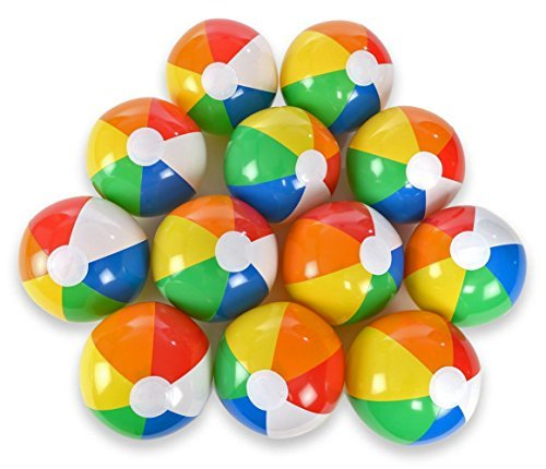 Acmer 12PCS Beach ball,Beach toy ball,Paddling ball,Water ball for children,Inflatable Beach Ball,Beach Pool Party Toys,Small size, easy to carry. by Acmer (Image #1)