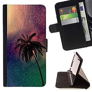 Momo Phone Case / Flip Funda de Cuero Case Cover - Árbol de la Noche Universo Miami Noche - Sony Xperia Z5 5.2 Inch (Not for Z5 Premium 5.5 Inch)