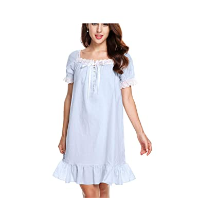 Image Unavailable. Image not available for. Color  Cotton Night Dress Women  Summer Sleepwear Nightgown Royal ... 24eaea423