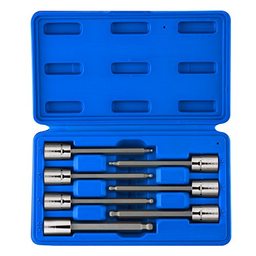 "Neiko 10243A 3/8"" Drive Extra Long Ball End Hex Bit Socket Set, S2 Steel 