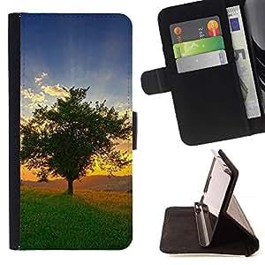 For Samsung Galaxy E5 E500 Case , Naturaleza Hermosa Forrest Verde 109- la tarjeta de Crédito Slots PU Funda de cuero Monedero caso cubierta de piel