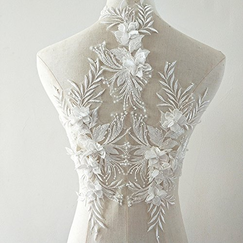 beaded flower sequence lace applique motif sewing bridal wedding 3in1 A5 3D (White) ()