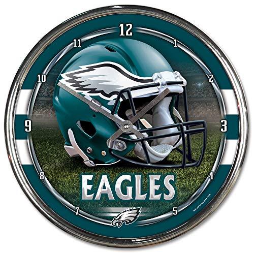 Philadelphia Eagles Chrome Clock - Wincraft Philadelphia Eagles NFL Chrome Round Clock