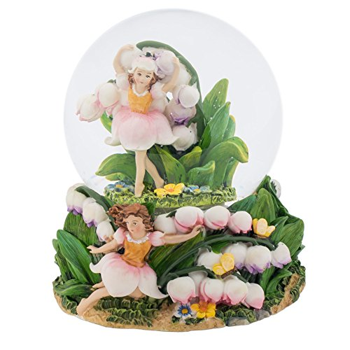 Fairies Dancing in Tulips 100MM Music Water Globe Plays Tune Dance of the Sugar Plum Fairy (Music Box Fairy)