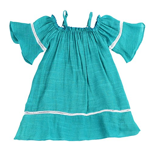 Toddlers and Girls Billowy Gauze-Cotton Madeline Off-Shoulder Dress in Teal Size 2T