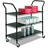 Safco Products 5338BL Wire Utility Cart with 3 Shelves, Rated up to 600 lbs. , Black