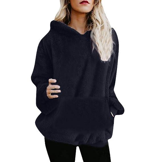 Yvelands Ofertas de liquidación Sudadera con Capucha para Mujer Abrigo Invierno Cálido Bolsillos con Cremallera Chaqueta de Felpa Outwear.