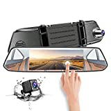 Mirror Dash Cam, CHICOM Dual Dashboard Camera Recorder 7'' LCD 1080P Full HD IPS Touch Screen 170° Wide Angle Front Rear View Car Video Recorder with G Sensor, Parking Monitor, Loop Recording