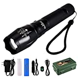 MAIGG-1200LM-XM-L-T6-LED-Zoomable-Super-Bright-Torch-Flashlight-Light-5-Modes-with-18650-Battery-USB-Charger-Car-Charger-Charger