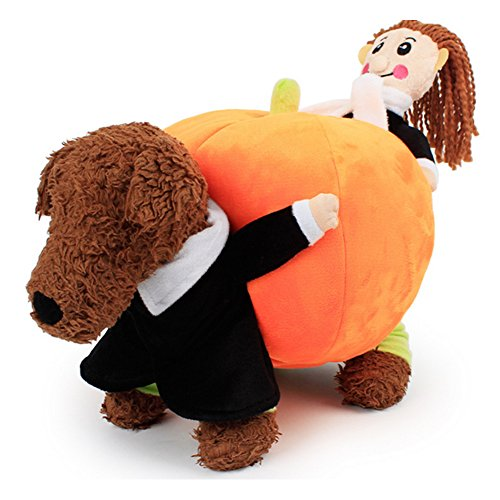 Cleana Arts Pet Dog Clothes Dog Carry Pumpkin Costume Halloween Fancy Dress Outfit Jumpsuit -
