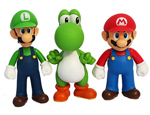 3pcs/set Super Mario Bros Luigi Mario Yoshi PVC Action Figures toy