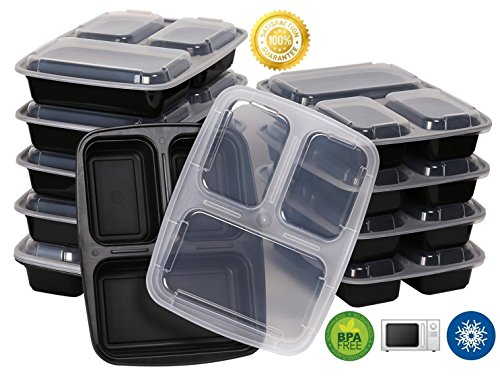 Green Direct 3 Compartment Meal Prep Containers / Food Storage Containers with Lids, Microwaveable, Freezer and Dishwasher Safe, Pack of 10