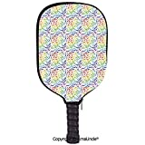 SCOXIXI 3D Pickleball Paddle Racket Cover Case,On The Beach Concept Seacoast Shoreline Vacation Holiday Travel Wellness Theme DecorativeCustomized Racket Cover with Multi-Colored,Sports Accessories