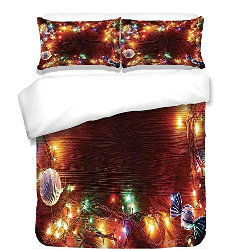 Copper Rustic Headboard - iPrint 3Pcs Duvet Cover Set,Christmas Decorations,Fairy Lights on Wooden Rustic Pine with Ornaments and Candy Lollies,Multi Color,Best Bedding Gifts for Family/Friends