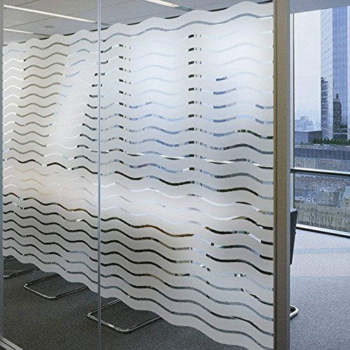 LEMON CLOUD No-Glue Static Decorative Privacy Window Films for Home Office Meeting Room (35.4In.by 78.7In, Waves Stripes) by LEMON CLOUD