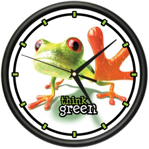 FROG 1 Wall Clock green frogs art animal decor toad gift (Frog Desk Clock)