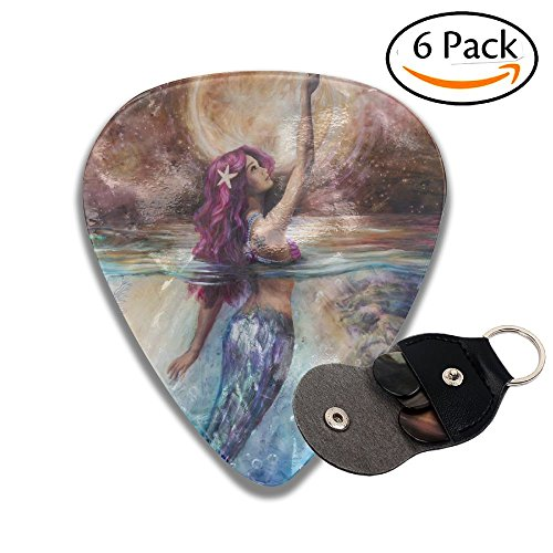 Unique Beautiful Mermaid Under Moonlight Designs Music Gifts Celluloid Guitar Picks - 6 Pack - Moonlight Design