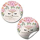 Deer Face Watercolor Floral Little Deer Thank You Sticker Labels for Girls, 40 2'' Party Circle Stickers by AmandaCreation, Great for Party Favors, Envelope Seals & Goodie Bags