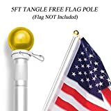 Anley 5 Feet Wall Mount Flagpole, Aluminum Flag Pole with Rotating Rings - Weather Resistant & Rust Free - Gold Ball Top