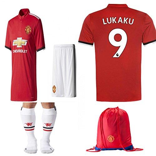 Manchester United NB Paul Pogba Lukuka 2017 2018 17 18 Kid Youth REPLICA Home, Away Jersey Kit : Shirt, Short, Socks, Bag (Lukaku Red, Size 28 (11-12 Yrs Old Approx.)) (Manchester United Soccer Logo)
