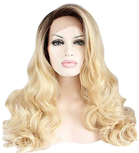 Ebingoo Long Curly Synthetic Lace Front Wig Dark Root Ombre Blonde Full Hair Wigs For Black (Dark Blonde Wig)