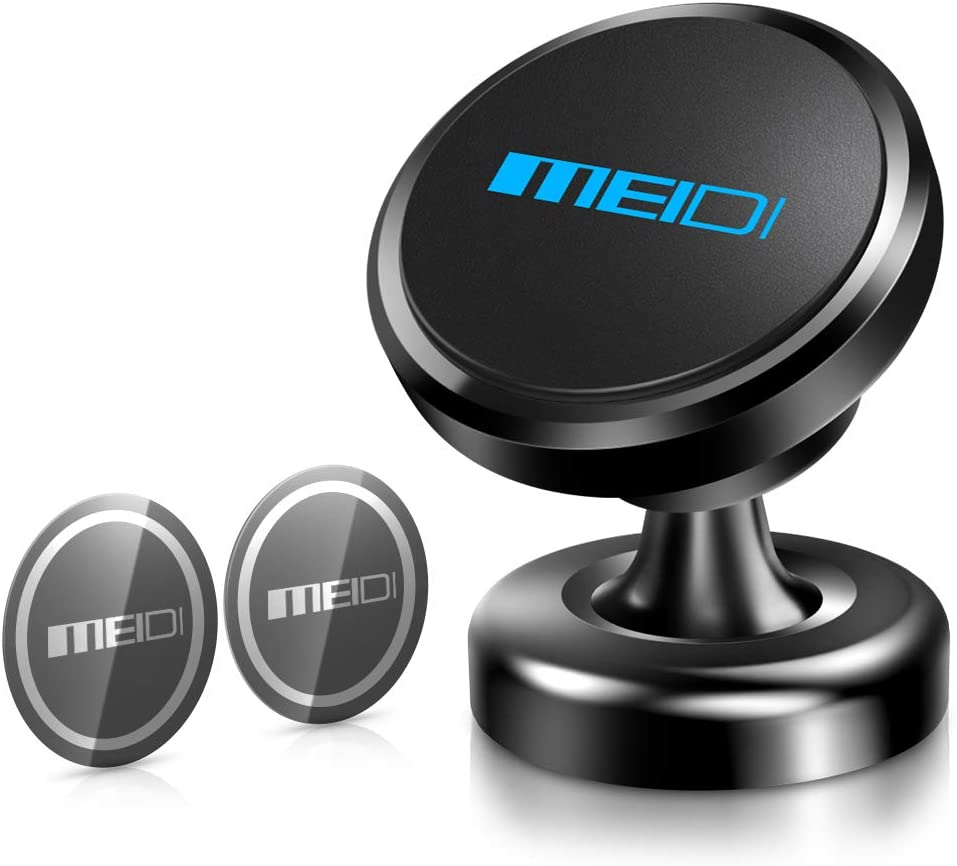 MEIDI Magnetic Phone Car Mount, Universal 360°Rotation Dashboard Cell Phone Mount Compatible iPhone X / 8/7 / 6/5 Galaxy S8 / S7 / S6, GPS, Light Tablets and More (Black)