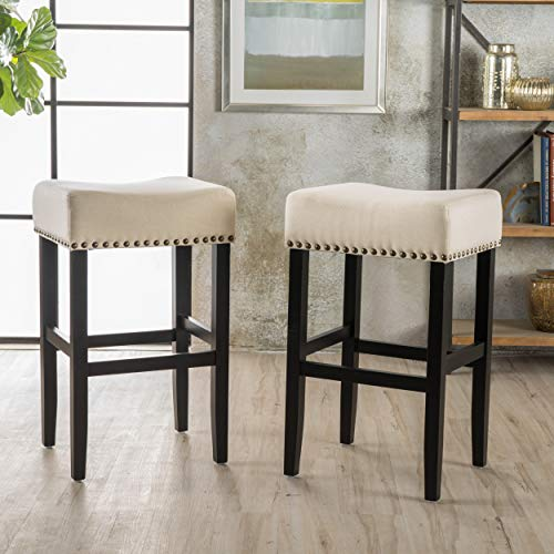 Christopher Knight Home 295743 Chantal Backless Beige Linen Counter Stools with Brass Nailhead Studs, Set of 2, (Stool Linen Grey Counter)