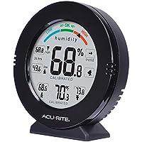 AcuRite 01080M Pro Medidor de humedad y temperatura de precisión con alarmas, negro