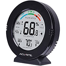 AcuRite 01080M Pro Accuracy Temperature and Humidity Gauge with Alarms, Black