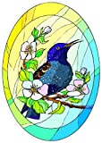 Wild Black Bird on Branch with Flowers - Etched Vinyl Stained Glass Film, Static Cling Window Decal