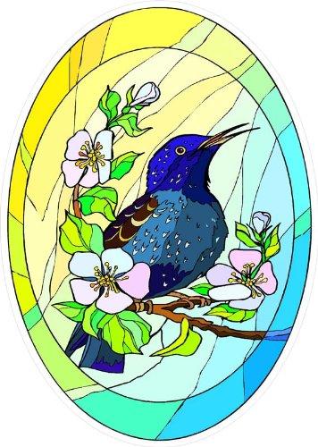 Wild Black Bird on Branch with Flowers - Etched Vinyl Sta...