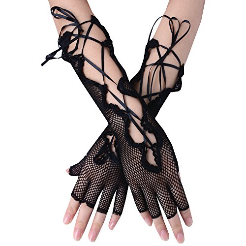 JISEN Women Fishnet Lace Up Fingerless Long Gloves Black 14 (Lace Up Black Fishnet Gloves)