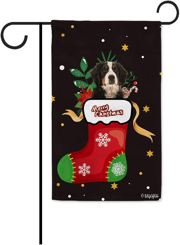 BAGEYOU Merry Christmas with My Favorite Dog Garden Flag Lovely Bernese Mountain Dog Hiding in Christmas Stocking Candy Cane Xmas Decor Home Banner for Outside 12.5x18 Inch Print Both Sides Black