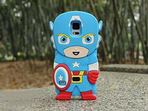 Cute 3d Cartoon Hero Captain America Soft Silicone Back Case Cover Skin for Iphone 4 4s 5 5s 6 6plus Samsung Galaxy S3 I9300 S4 I9500 S5 I9600 Note III N9000 (Samsung Galaxy S5 I9600)