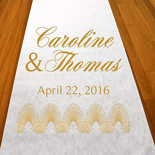 Personalized Art Deco Aisle Runner 75 Feet Custom Made -